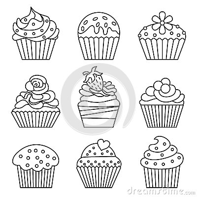 Cupcake icons. Vector Illustration