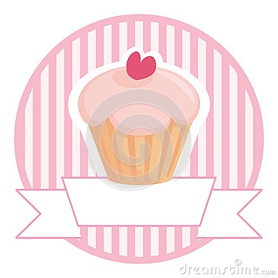 Free Cupcake In Pink With White Place For Your Text Royalty Free Stock Images - 25344079