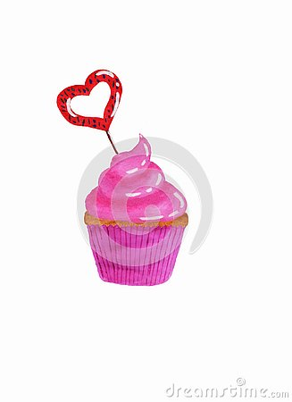 Cupcake with pink cream and heart-shaped caramel Stock Photo
