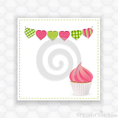 Cupcake and bunting background