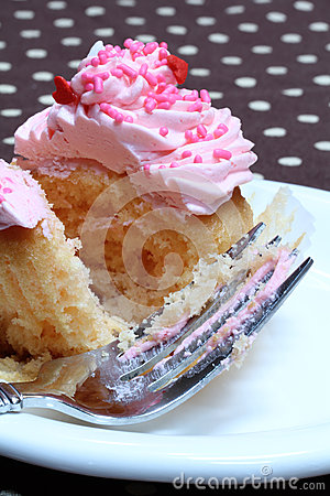Cupcake with Pink Icing and Sprinkles, Fork