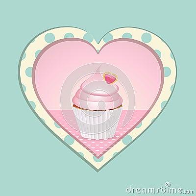 Cupcake and polka dot heart