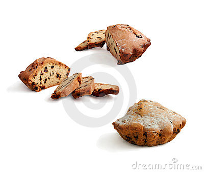 Cupcake with raisins. Set of variants.