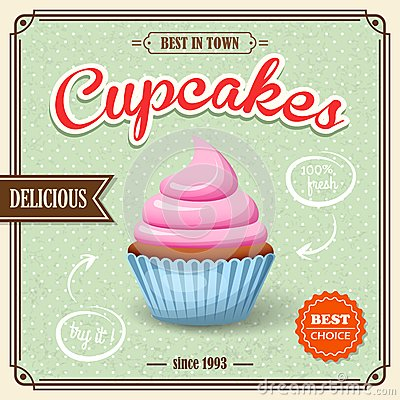 Free Cupcake Retro Poster Royalty Free Stock Photos - 44203258