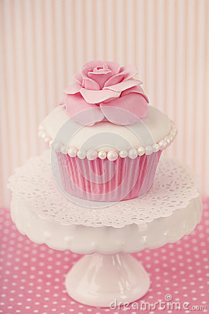 Cupcake with rose flower