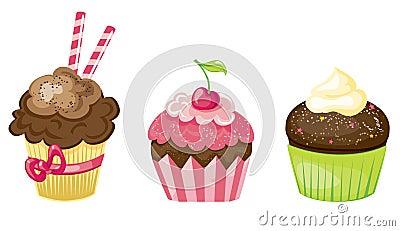 Cupcake set Vector Illustration