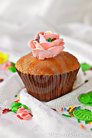 Cupcake with swirls of creamy