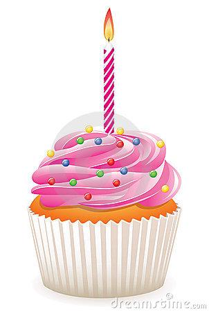 Free Cupcake With Burning Candle Royalty Free Stock Photos - 13123678