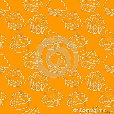Cupcakes περιγραμμένος άνευ ραφής