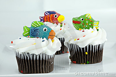 Cupcakes with Candy Fish on top