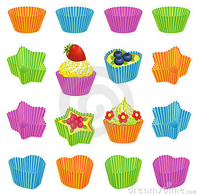 Cupcakes and colourful baking cups