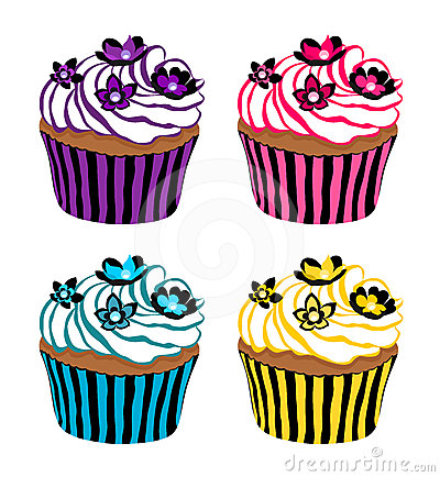 Cupcakes decorated with flowers