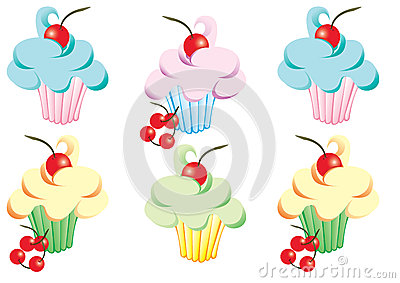Cupcakes with icing and cherries