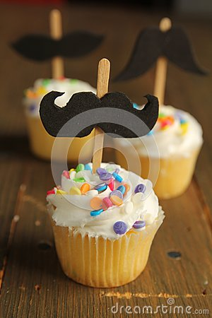 Cupcakes with moustaches