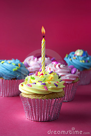 Free Cupcakes On Red Stock Photo - 11691010