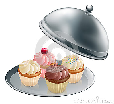Free Cupcakes On Silver Platter Stock Image - 25926511