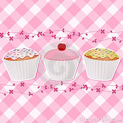 Cupcakes on pink gingham