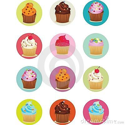 Cupcakes printable sheet in circles