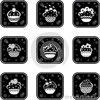 Cupcakes set icons