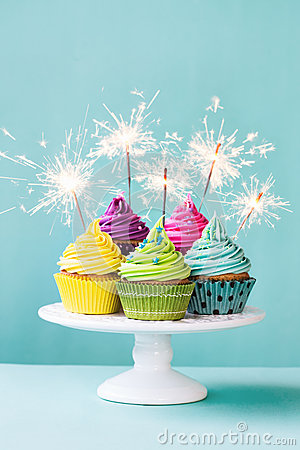 Cupcakes With Sparklers Stock Photo Image 49545154