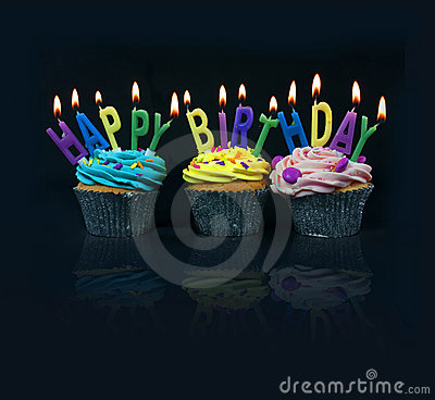 Free Cupcakes Spelling Out Happy Birthday Royalty Free Stock Images - 11691839