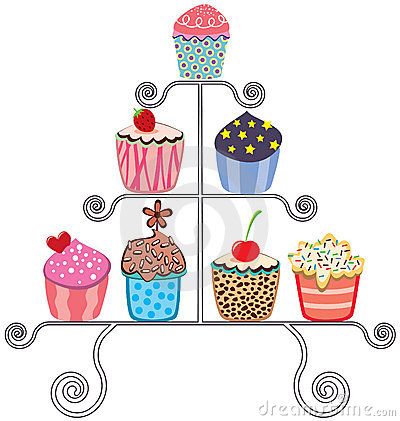 Cupcakes on a stand Vector Illustration