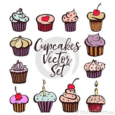 Cupcakes vector set Vector Illustration