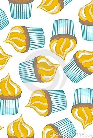 Cupcakes on white background seamless pattern