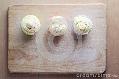 Cupcakes on Wood Overhead
