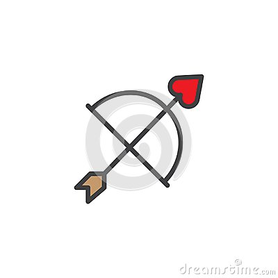 Free Cupid Bow And Heart Arrow Filled Outline Icon Stock Image - 107714681