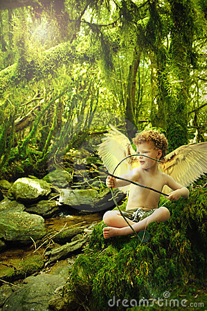 Cupid in  fantasy forest
