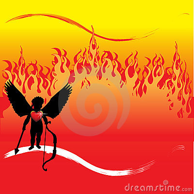 Cupid in front of flames