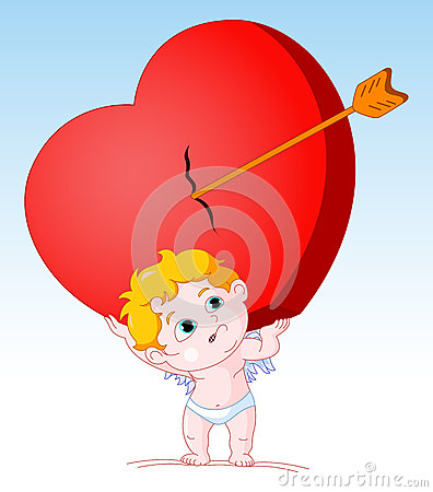 Cupid Holding Heavy Heart