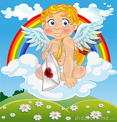 Cupid with love letter on cloud over field