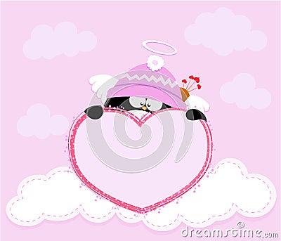 Cupid Penguin Holding Heart