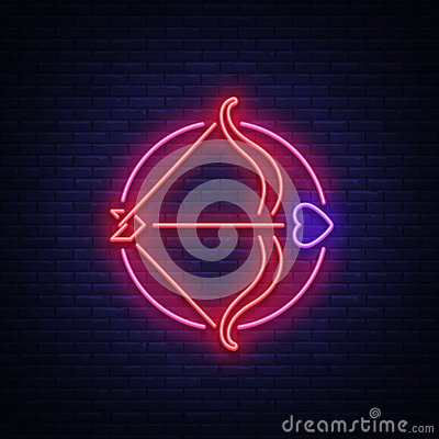 Free Cupid S Arrow Is A Symbol Of Valentine S Day. Neon Sign, Bright Banner, Night Whiteboard. Advertising For Valentine S Royalty Free Stock Images - 107500669
