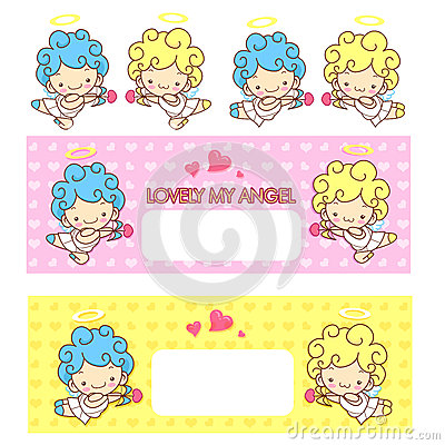 Cupid s love and an baby angel Mascot. Angel Character Design Se