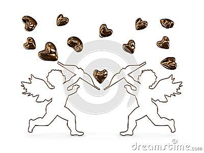 Cupid shoots arrows at hearts