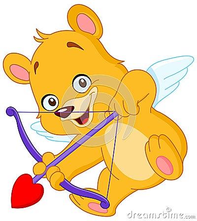 Cupid teddy bear Vector Illustration