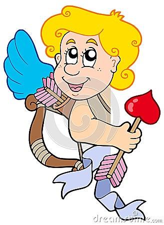 Cupidon de cachette avec la proue et la flèche