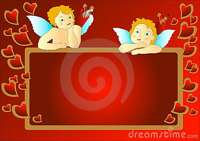 Cupids with messageboard