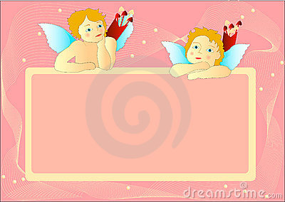 Cupids with pink messageboard