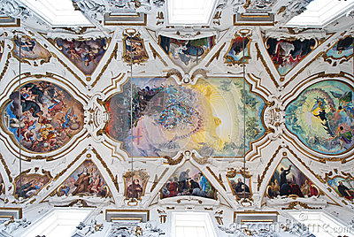 Cupola and ceiling of church La chiesa del Gesu or Casa Professa