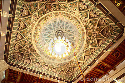 Cupola with chandelier in grand mosque