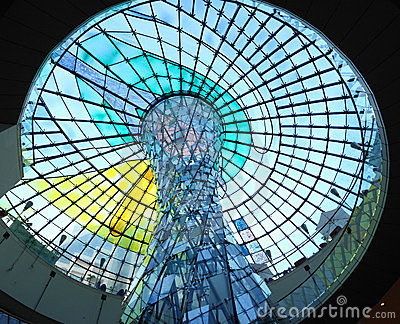 Cupola of the Wafi mall in Dubai Editorial Stock Photo