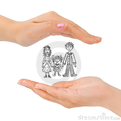 Cupped hands and family