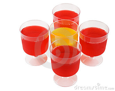 Cups of colorful jello
