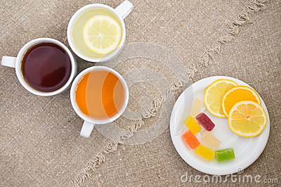 Cups With Different Types Of Tea Stock Image Cartoondealer Com