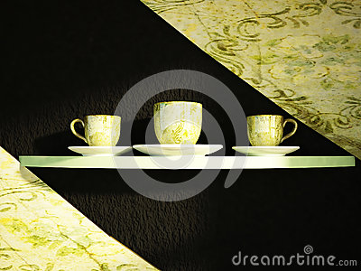 The cups on the shelf
