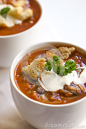 Cups of Soup with Croutons